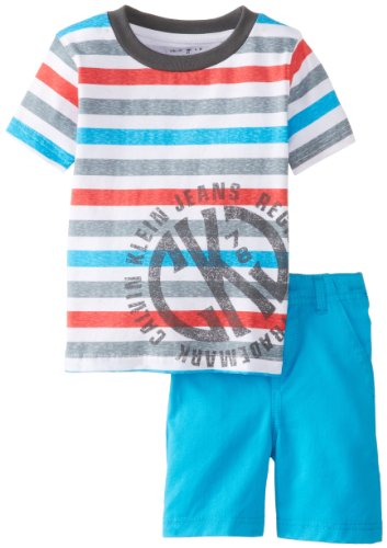 Calvin Klein Boys 2-7 Toddler Crew Neck Stripes Tee with Shorts