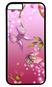 The Pink Butterflies and Flowers DIY Hard Shell Black Best Designed iphone 6 plus Case