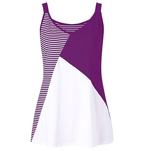 Top Turtleneck Stripe (Hatoys Fashion Women Plus Size Stripe Patchwork Sleeveless O-Neck T-Shirt Tank Top Vest Blouse (4XL, Purple))