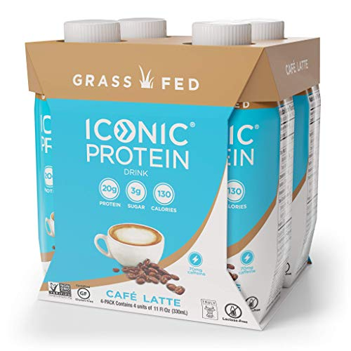 Iconic Protein Drinks, Café Latte (4 Pack) | Low Carb, Grass Fed, High Protein Super Coffee | 20G Protein + 180mg Caffeine | Lactose Free, Gluten Free, Non-GMO, Kosher | Keto Friendly