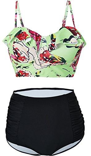 Swimwear Figure Flattering (Passionate Adventure Ruffle Push Up Padded Bathing Suit Flounce Swimsuit High Waisted 2PCS Bikini Set Triangle Swimwear A Light Flower XL(US 10-12))
