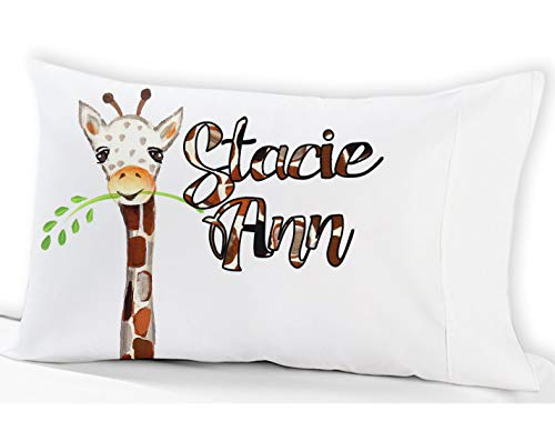 - Personalized Watercolor Giraffe Kids Pillowcase (Standard) Watercolor Cute Giraffe Theme Pillow Case Design for Kid Girls or Boys with Name