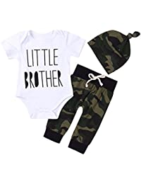3Pcs Baby Boys Little Brother Camouflage Romper Tops+Pants Leggings+ Hat Outfits Set