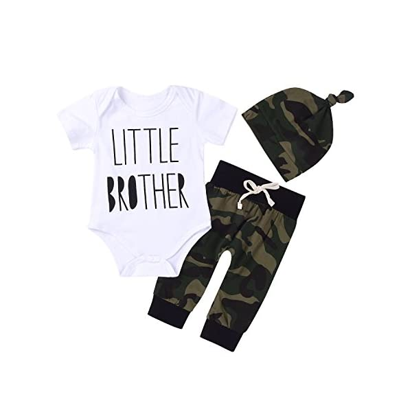 Kerrian Online Fashions 411skBbodML 3Pcs Baby Boys Little Brother Camouflage Romper Tops+Pants Leggings+ Hat Outfits Set