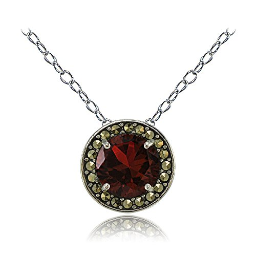 sterling-silver-garnet-and-marcasite-halo-necklace