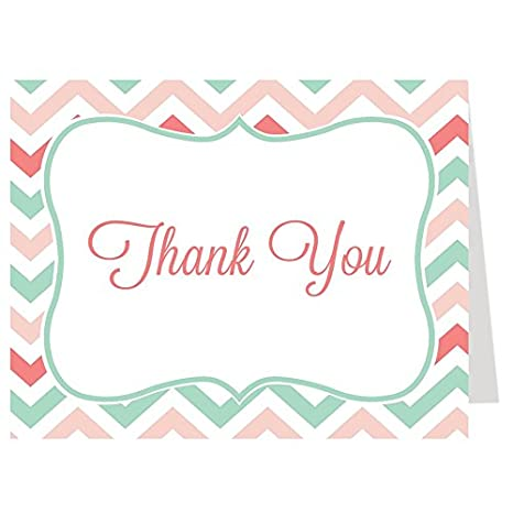 amazon com bridal chic bridal shower thank you card chevron mint