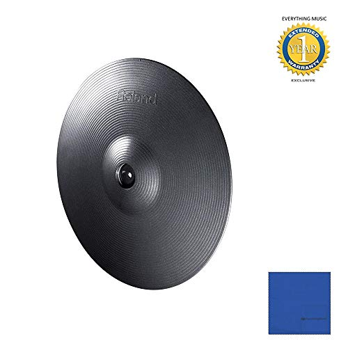 Roland CY-15R V-Cymbal Ride Metallic Gray (CY-15R-MG) with Microfiber and 1 Year Everything Music Extended Warranty