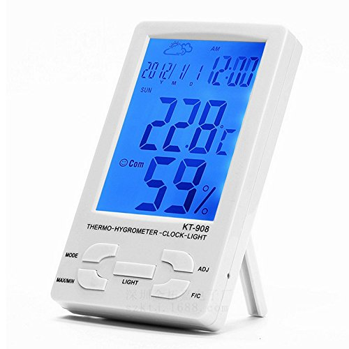 INNI KT908 LCD Digital Thermometer Hygrometer Alarm Clock Home Electronic Temperature Humidity Meter