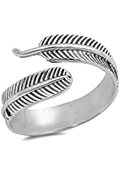 .925 Sterling Silver Bohemian Feather Wrap Ring