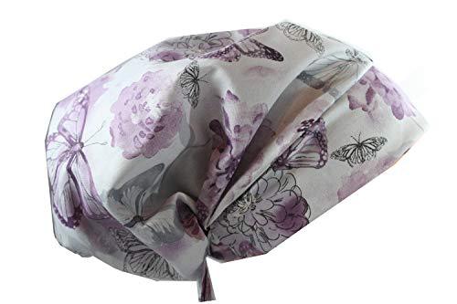 Scrub Hat Chef Chemo Cap Boho (Lilac Butterfly)