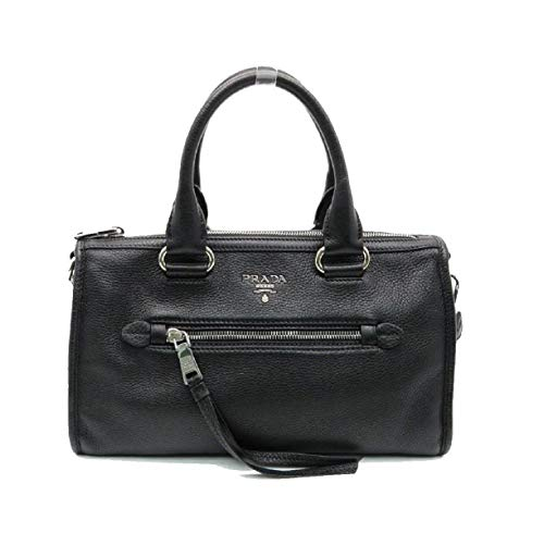 Prada Bauletto Women's Black Nero Leather Vitello Phenix Handbag 1BB022
