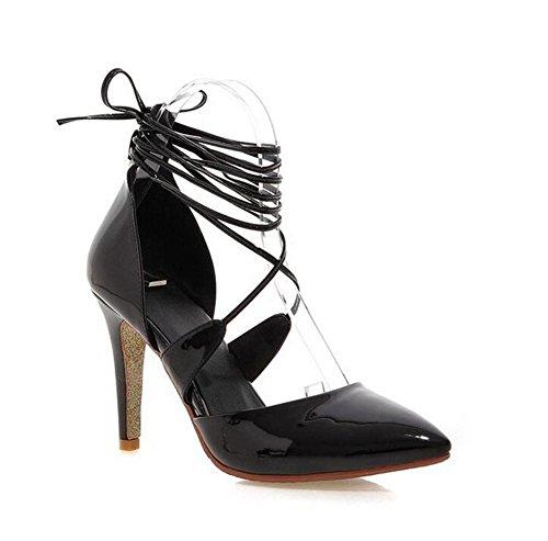 Schuhe Gericht Mund XIE mit High Flachen Heels Dünn Cross Sandalen Zehe Riemen mit Womens Spitzen wIqxftZ