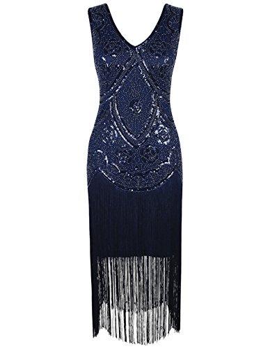 Kayamiya Women's Vintage 1920s V Neck Sequined Beaded Floral Flapper Gatsby Dress S Blue (Period Dress)