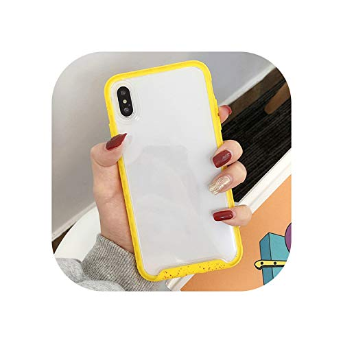 Transparent Candy Color Acrylic Soft Edge TPU Phone Case for Iphonex Xr Xs Lemon Yellow Phone Case for Iphone7 8 6 6S Back Cover,Yellow,for iPhone Xs Max