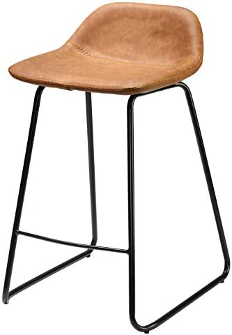 Cortesi Home Ava Counterstools in Saddle Brown faux Leather, 25 High