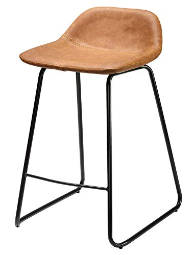 Cortesi Home CH-CS624959 Ava Counterstools in Saddle Brown Faux Leather, 25
