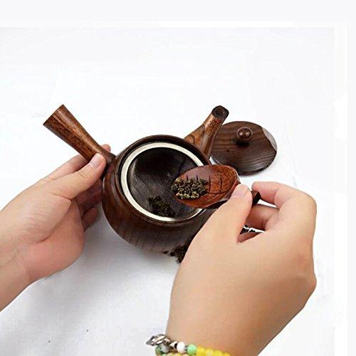 Funnytoday365 10Pcs/Lot Wooden Leaf Shape Tea Scoops Spoons Chopsticks Holder Nanmu Wood Eco Friendly Tea Tools