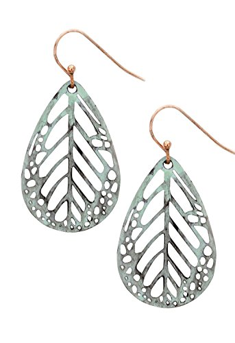 1020's Costume Ideas (Rosemarie Collections Women's Dangle Earrings Patina Color Filigree Leaf)