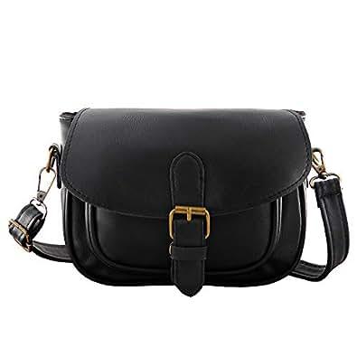 Women Small Vintage Satchel Crossbody Bag PU Leather Saddle Shoulder Purse Handbag Black Size: Small