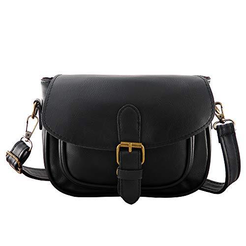 Women Small Vintage Satchel Crossbody Bag PU Leather Saddle Shoulder Purse Handbag - Cross Saddle Body