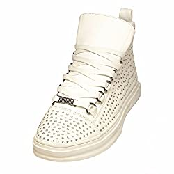 Encore White Leather Rhinestones Fashion Sneaker