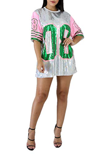 STAY CHIC Sequins Short Sleeve 08 Print Casual Mini Dress (One Size, Pink/Green) (One Sequin)