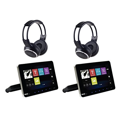 Universal Car Headrest Mount Monitor - Smart 9.4 Inch Vehicle Multimedia DVD Player - Dual Audio Video Entertainment w/Hi-Res TV LCD Screen, Wireless Headphones & Mounting Bracket - Pyle PLDHR926KT