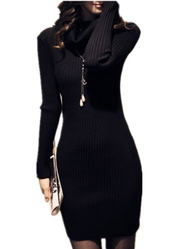 v28 Women Cowl Neck Knit Stretchable Elasticity Long Sleeve Slim Fit Sweater Dress - stylishcombatboots.com