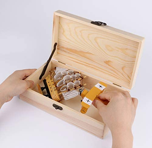 Unfinished Wood Box Dedoot Wood Jewelry Box with Locking Clasp Rectangle Wood Box Organizer for Crafting Gift Box Artist Tool and Brush Storage Box 9.7x5.5x2.7 Inch