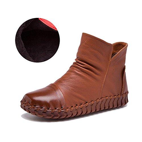 Mujeres Botas hecho a mano Costura Retro corto gruesos peluche piel cremallera Talón plano caliente Casual zapatos, CAMEL-37 CAMEL-38
