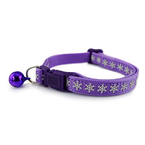 Laugh Cat Luminous Snowflake Pattern Knitting Collar With Bell Adjustable For Cat Medium Size (Purple) (Cat Snowflake)