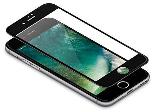 vau Panzerglas Pro für iPhone 7 - Panzer-Folie, Display-Schutzfolie deckt gesamte iPhone7 Front ab ( schwarz )