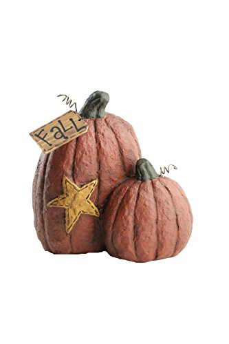 Craft Outlet Papier Mache Two Pumpkins with Star Figurine, 6.25-Inch