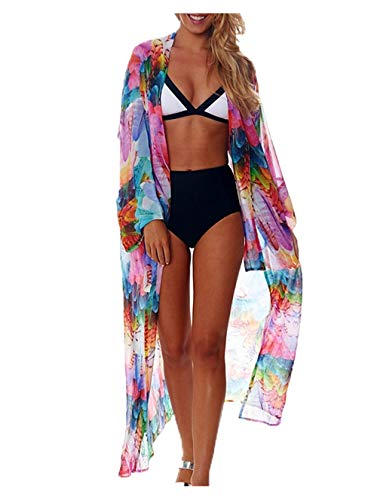 Wander Agio Womens Bikini Cover Ups Beach Casual Dress Coverup Swimsuits Long Cardigan Buttons Chiffon Colorful Feathers (Colorful Swimsuits)