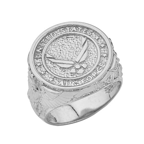 Men's Solid Sterling Silver US Air Force Military Insignia Ring (Size 10.25)