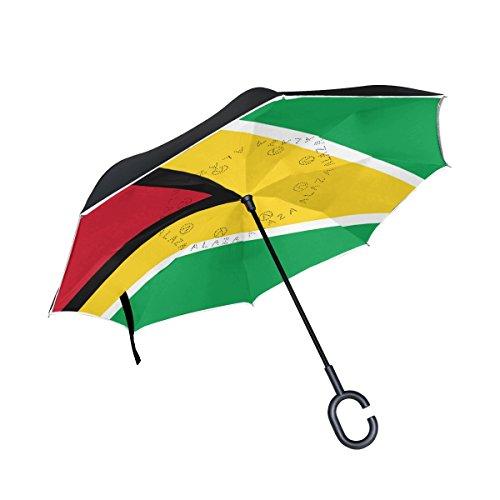 Trikahan Reverse Umbrella, Guyana Flag, Outdoor Windproof Double Layer Inverted Umbrella Rain Protection Upside Down Auto Car Reverse UV Umbrellas for Men Women