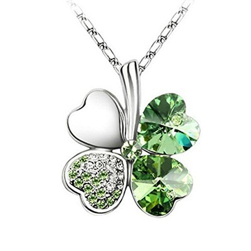 Jackie Fashion White Gold Plated Austrian Crystal Lucky Four Leaf Clover Pendant Necklace (White Leaf Pendant)