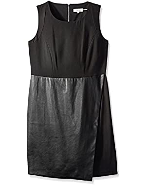 Women's Sleeveless Dress with Faux Leather Flap