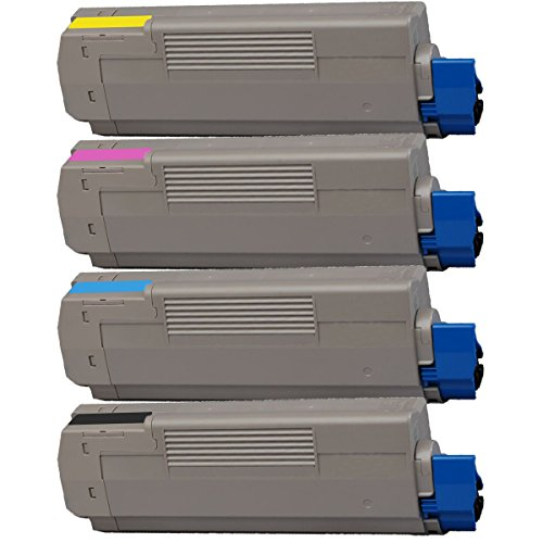 4 Inktoneram® Replacement toner cartridges for Okidata C610 44315304 44315303 44315302 44315301 for Okidata C610 Black Cyan Magenta Yellow Combo Pack Set C610cdn C610dn C610dtn C610n