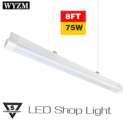 Vapor Proof 8ft 75W 8500LM LED Shop Light, IP65 Waterproof,6ft Power Cord Plug in and Play,5700K Daylight White,Fluorescent Tube Replacement for Workshop Warehouse Office Hospital
