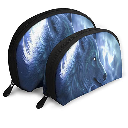 Makeup Bag Galaxy Wolf (2) Portable Shell Clutch Pouch For Mother Halloween Gift Pack - 2