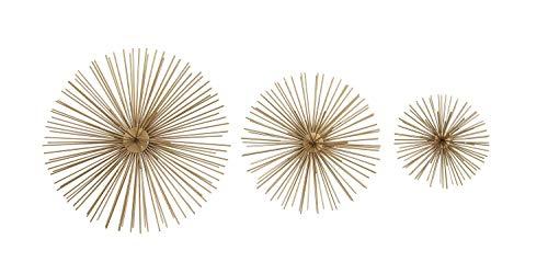 Deco 79 50370 Metallic Gold Starburst Metal Wall Decor, 3D Wall Art, Modern Wall Decor, Gold Orbs for Wall, Gold Decor…