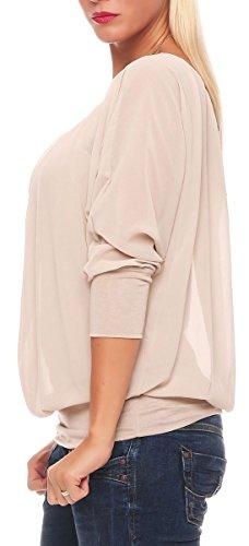 Femme Haut Tunique 1133 Blouse Loose Oversize Malito ne avec beige Unique Taille Cha awn6ZxBZzq