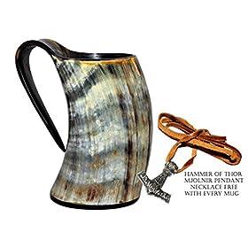 Vikings Valhalla's Viking Cup Drinking Horn Tankard Authentic Medieval Inspired drinking Mug