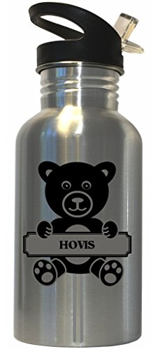 hovis-surname-bear-stainless-steel-water-bottle-straw-top