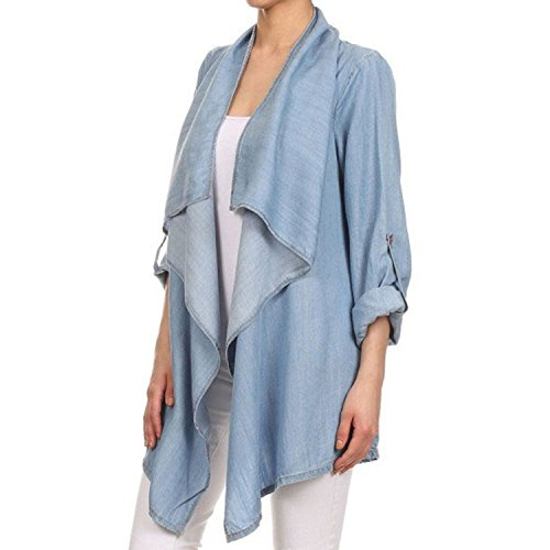 - Maybest Ladies Cardigan Coat Waterfall Denim Jeans Jacket Blazer Long Sleeve Blouse Knee Length Kimono Top Blue US 8