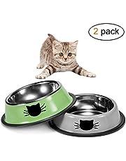 Zubita Ciotola di Gatto, 2 in 1 Ciotola per Cani Gatti Fondo Antiscivolo Ciotole per Alimenti e Acqua per Cani in Acciaio Inossidabile di Alta qualità (Verde e Grigio)