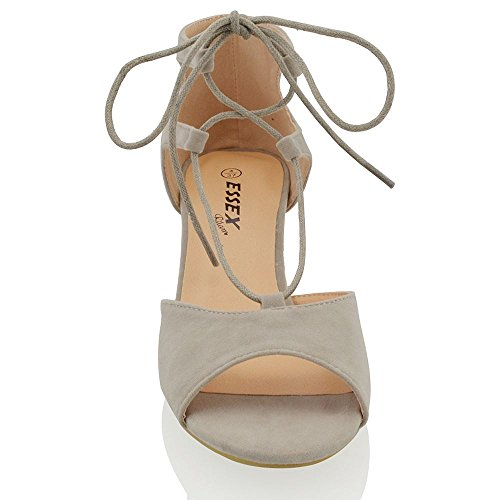 ESSEX GLAM Sintético Sandalias de punta abierta con tacón bajo cuadrado y tiras Gris Gamuza Sintética
