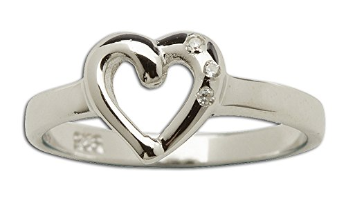 Sterling Silver Baby Ring with Heart and April CZ Simulated Birthstone
