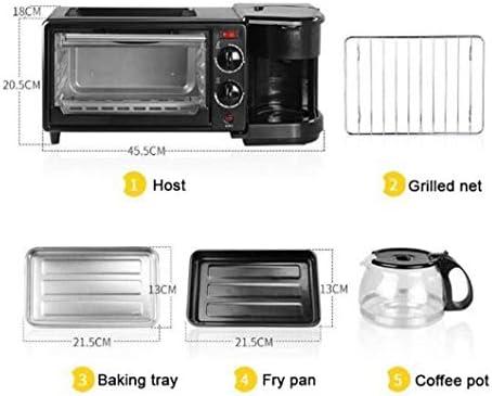 wlkeu Électrique 3 en 1 Machine à Petit déjeuner Multifonction Mini Goutte à Goutte cafetière américaine Four à Pizza Oeuf Omelette poêle Grille-Pain